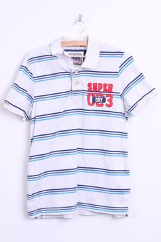Superdry Mens L Polo Shirt Striped White Top Washed Look - RetrospectClothes