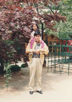 With father at the kindergarten garden. Though I attended another kindergarten like to go to the kindergarten garden on weekend with family.
