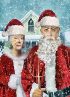 Mr & Mrs Santa - Grant Wood American Gothic Boxed Holiday Cards Easy Street Publications,