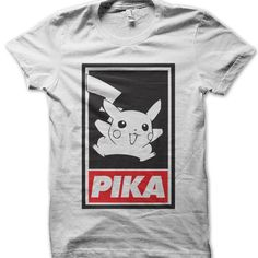 This Pika Obey t-shirt makes a perfect gift! Available in a variety of colours and sizes at an unbeatable price and quality. Pokemon T, Favorite Tv Shows, Colours, Mens Tops, T Shirt, Kids, How To Wear, Clothes, Tee