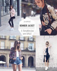 Jaqueta bomber para sair no verão ou no inverno com camiseta, jeans e tênis branco, um look básico e versátil para o dia a dia.  5 itens de têndencia verão 2017 em SALE - BOMBER JACKET