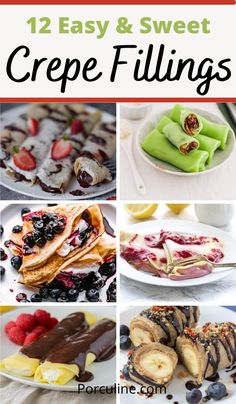 Dessert Crepe Recipe, Easy Crepe Recipe, Crepe Recipes, Crepes And Waffles, Savory Crepes, Pancakes, Crepes Filling, Filling Recipe, French Crepes