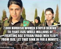 Kurdish Women stay behind to fight ISIS, while military age Syrian men flee |DEFEAT OBAMA TOONS
