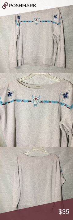 RL Denim and Supply Gray Sweater Gray with beading work on collar. Medium. Good condition. Denim & Supply Ralph Lauren Sweaters