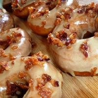 Maple bourbon bacon doughnuts.   Oh my stars....I don't think I'd have the courage to make them, but I sure would like a bit of one.