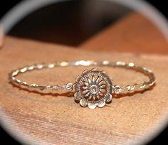 Sunflower Bangle Bracelets wirewrapped.net by BirchBarkDesign, $14.95