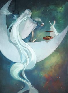 moon lady invites bunny to tea and biscuits