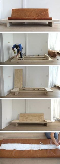 Plans of Woodworking Diy Projects - In this DIY tutorial you can learn how to build your own modern plywood couch with built-in side tables and an upholstered leather seat cushion. The instructions are detailed and comprehensive, with the finished product being a functional and easy to move modern sofa. Get A Lifetime Of Project Ideas & Inspiration!