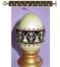 Rose of Sharon Bunnies Egg Wrap or Bracelet Beading Pattern at Sova-Enterprises.com