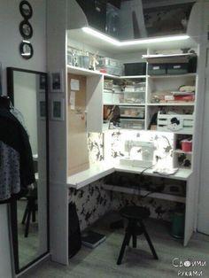 Как муж переоборудовал старый шкаф в место для рукоделия своей жене