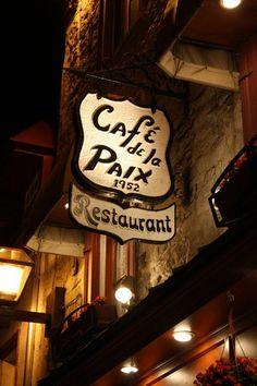 Café de la Paix | Vieux-Québec, Québec Restaurant | Cuisine Française & Fruits de mer | www.RestoQuebec.ca Old Quebec, Quebec City, Bar Signs, Shop Signs, Chute Montmorency, Chateau Frontenac, Le Petit Champlain, Hotel Inn, Block Island