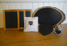 photo booth chalkboard props #wedding #handmade (by PNZ Designs)
