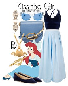 """Kiss the Girl"" by leslieakay ❤ liked on Polyvore featuring Lulu Guinness, Lab, Rachel Comey, Miss Selfridge, Jimmy Choo, Bling Jewelry, Kate Spade, Valentino, Latelita and disney"