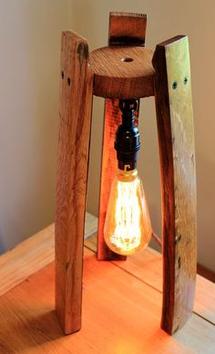 Scotch Whisky barrel stave edison table lamp, with or without a hanging edison bulb : Scotch Whisky barrel lamp, with or without a hanging edison bulb by BeeSpokeBarrels on Etsy Bourbon Barrel Furniture, Wine Barrel Crafts, Barris, Barrel Projects, Barrel Table, Rustic Lamps, Wooden Lamp, Brass Lamp, Scotch Whisky