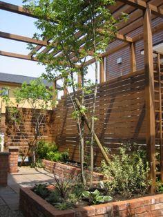 Garden with a pergola パーゴラのある庭