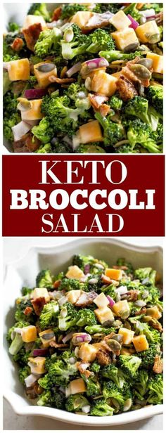 Keto Broccoli Salad - who says you can't have your favorite potluck side dish when on the Keto diet? #keto #lowcarb #recipes #sidedish #potluck #bbq