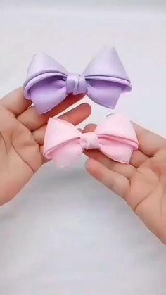Diy Bow, Diy Ribbon, Ribbon Crafts, Ribbon Bows, Rope Crafts, Diy Crafts For Gifts, Yarn Crafts, Handmade Hair Bows, Diy Hair Bows