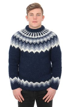 Icelandic Sweaters - Icelandic knitwear is famous for its premium quality, incomparable warmth, and classic style. All our Icelandic sweaters and Icelandic cardigans are made in Iceland from pure Icelandic sheep's wool to give you exceptional. White Sweaters, Wool Sweaters, Icelandic Sweaters, Fair Isle Pattern, Stay Warm, Pattern Fashion, Men Sweater, Navy Blue, Pullover