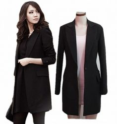 Ladies Long Black Jacket 7kb66U