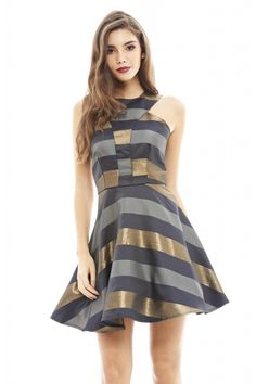Metallic Navy Striped Skater Dress | ModMint: ModMint Boutique
