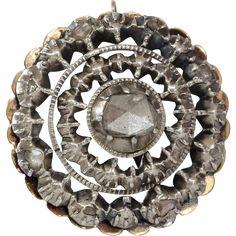 Georgian Diamond Pendant | 14K Yellow Gold Silver | Antique Rose  found at www.rubylane.com @rubylanecom