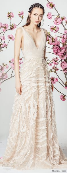 marchesa notte spring 2018 bridal sleeveless strap deep v neck ruched bodice heavily embellished skirt romantic blush color a  line wedding dress sweep train (6) mv -- Marchesa Notte Spring 2018 Wedding Dresses