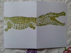 Crocodile linocut card for boys 2014