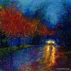Bathing In Headlights - by Iris Scott, finger painter. Visit IrisScottPrints.com