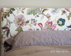 Someday I would like to make a padded headboard like this one, though in a different patterned upholstery.