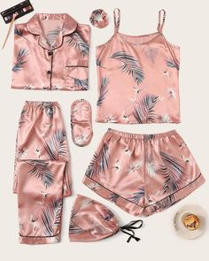 Check out this Crane & Tropical Print Satin Pyjama Set on Shein and explore more to meet your fashion needs! Cute Pajama Sets, Cute Pjs, Cute Pajamas, Pyjama Sets, Cute Sleepwear, Sleepwear Women, Loungewear, Satin Pyjama Set, Satin Pajamas