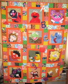 The+Muppets+&+Sesame+Street+Baby+Quilt+by+RTCreations2847+on+Etsy,+$150.00
