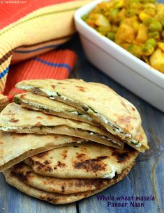 Whole Wheat Masala Paneer Naan, with a stuffing of soft and fresh paneer perked up with green chillies and coriander. This paneer-stuffed naan is made with whole wheat flour and is flavourful and scrumptious.