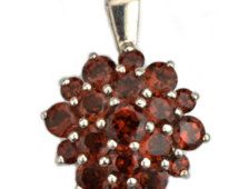 40% OFF 925 Sterling Silver Garnet Pendant With Cubic Zirconia. (GT-50003)