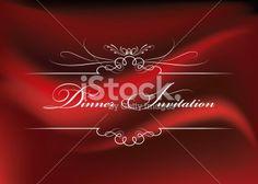 Red Satin Dinner Invitation Royalty Free Stock Vector Art Illustration