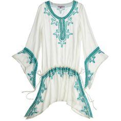 CALYPSO St. Barth Poolside Embellished Crinkle Silk Caftan ($299) ❤ liked on Polyvore featuring tops, tunics, cocnutcc, beaded top, kaftan tunic, silk kaftan, white beaded top and embellished tops