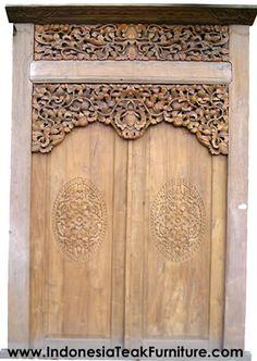 Traditional Javanese Carved Wood Doors made of Teak Wood   Java Wood Door Gebyok.