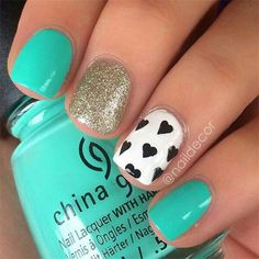 Turquoise with gold glitter and hearts nails