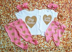 Matching Outfits Big Sister Little Sister by CustomStylesBoutique Matching Sister Outfits, Little Girl Outfits, Toddler Outfits, Cute Outfits, Baby Girl Items, Cute Baby Girl, Big Sister Little Sister, Little Sisters, Sister Shirts