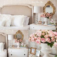 Cameo fleur wallpaper in a romantic master bedroom!