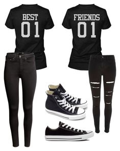 Cute best friend outfits friends always by on featuring river island converse and halloween costume Twin Outfits, Teen Fashion Outfits, Funny Outfits, Teenager Outfits, Outfits For Teens, Trendy Outfits, Best Friend Pullover, Best Friend Hoodies, Bff Shirts