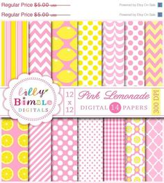 50% off PINK LEMONADE digital papers with chevron, polka dots, quatrefoil, stripes, yellow and pink Digital Download