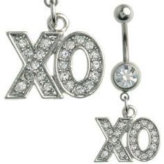 Multi Jewel XO Design Dangle Belly Ring Surgical Steel