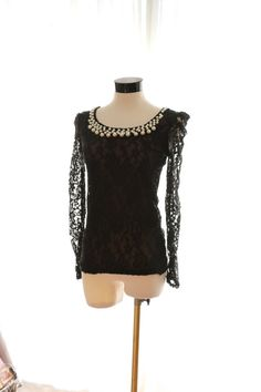 Vintage Style Black Sheer Tattoo Shirt French Chantilly by GLUst, $49.50