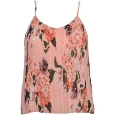 Urban Touch Floral Print Pleated Cami Top, Peach (€50) ❤ liked on Polyvore featuring tops, red cami, floral print tops, sleeveless tank tops, red tank top and cami tank tops