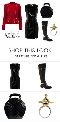 """""""Patent Leather Dress"""" by lynesse ❤ liked on Polyvore featuring Topshop Unique, Vince Camuto, Chanel, Vivienne Westwood, Balmain and patentleather"""