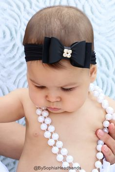 Baby headband Black Baby Headband Black Bow by BySophiaHeadbands