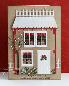 PamSparksGingerbreadHouseLanternOpen, Memory Box, poppystamps, Christmas