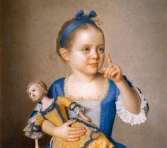 18th century girl with doll, Jean-Étienne Liotard  Yellow with teal trim on the doll. Gauze apron with teal trim.