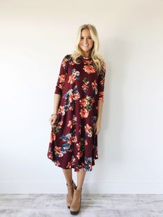The Lydia Dress in Wine   ROOLEE