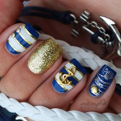 Nautical #manicure ===== Check out my Etsy store for some nail art supplies https://www.etsy.com/shop/LaPalomaBoutique